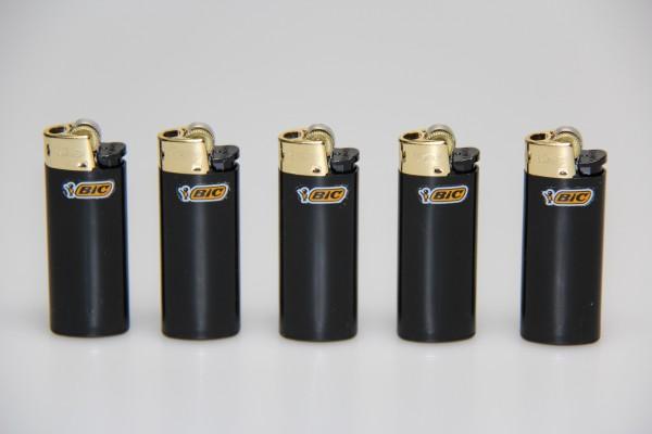 """5stk. BIC Reibrad Mini Feuerzeug 890474 """"Mini J25 Gold"""""""