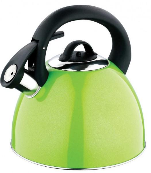 Kaiserhoff Edelstahl Wasserkessel Wasserkocher Teekessel Pfeifkessel Induktion 2,8 Liter Grün