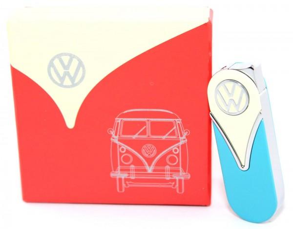 """VW Volkswagen Metallfeuerzeug Gas Feuerzeug """"Round Edges"""" mit Geschenkbox nachfüllbar Gelb/Blau"""